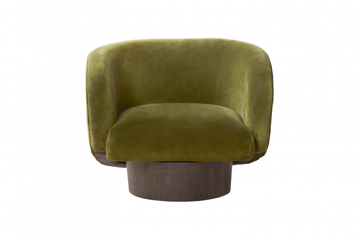 Mid Century Velvet Chair-Moss