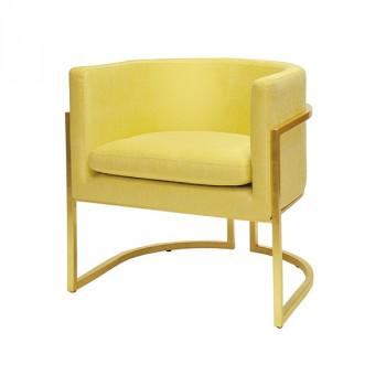 Jenna Gp07, Gold Leaf Frame Barrel Chair